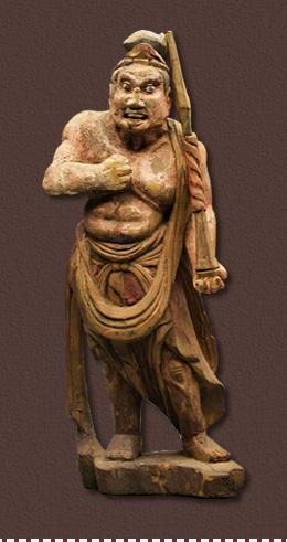 唐代木雕彩绘佛像